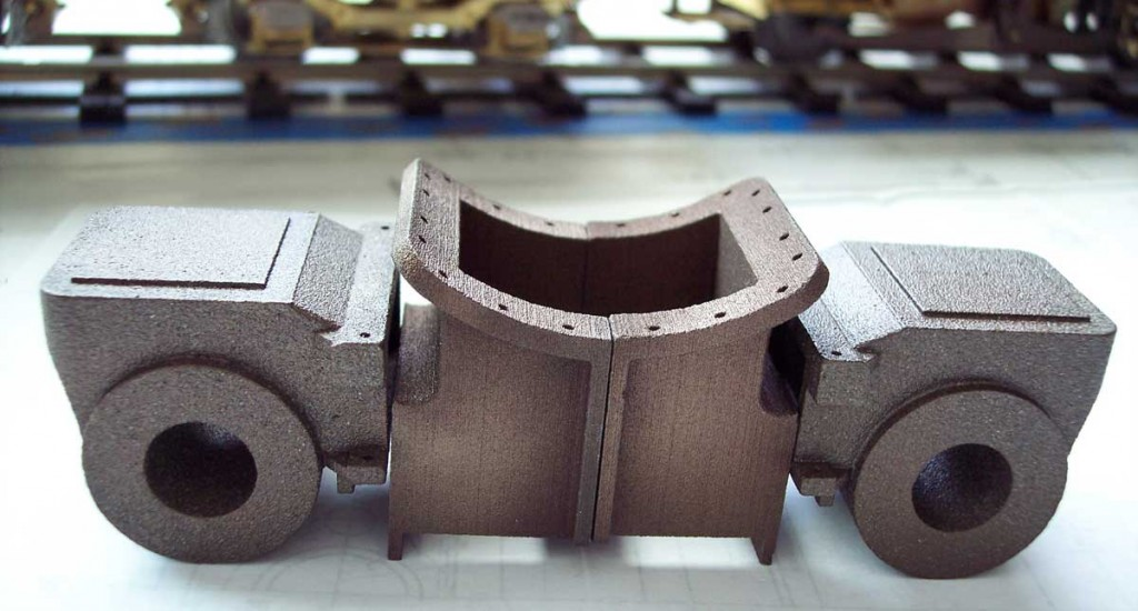 Cylinder blocks and smokebox saddle awaiting machining
